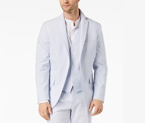INC Men's Slim-Fit Stretch Seersucker Blazer, Light Blue