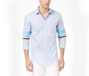 INC Mens Striped Track Sleeve Shirt, Blue Combo