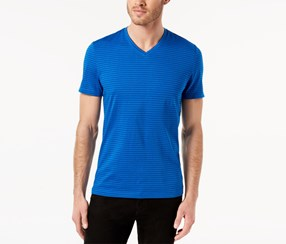 Alfani Mens Space-Dyed Stripe V-Neck T-Shirt, Sparkling Blue