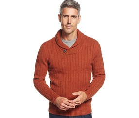 Tasso Elba Shawl-Collar Sweater, Rust Neps