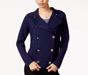 Maison Jules Double-Breasted Sweater Jacket, Navy