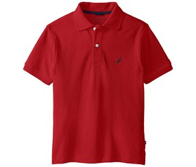 Nautica Boys Solid Anchor Polo Shirt, red
