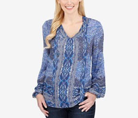 Lucky Brand Split-Neck Printed Top, Blue