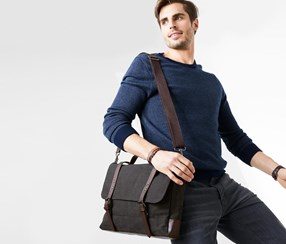 Men Crossbag, Gray/Brown