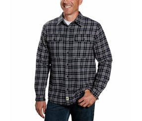 Boston Traders Men's Sherpa Flannel Plaid Shirt Jacket, Navy Blue
