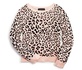 Bloomie's Girls' Leopard Print Pullover Sweater, Pink