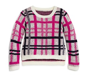 Bloomie's Girls' Plaid Sweater, Pink/Navy