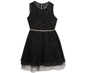Rare Editions Girl's Textured & Flocked Social Dress, Black