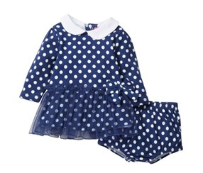 Isaac Mizrahi Girl's Polkadot Dress & Diaper Cover Set, Navy