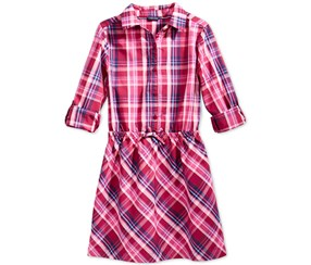 Tommy Girl's Plaid Shirt dress, Red Berry