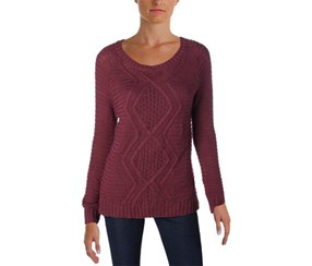 Ny Collection Women's Cable Knit Pullover Sweater, Maroon
