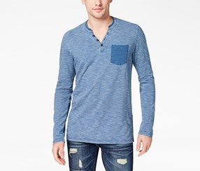 American Rag Men's Striped Pocket Henley Shirt, Basic Navy