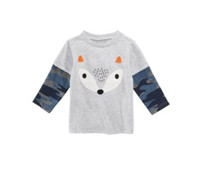 First Impressions Baby Boys Layered-Look Fox-Print T-Shirt, Grey