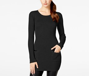 Bcx Women's' Rib-Knit Sweater Dress with Pockets, Black