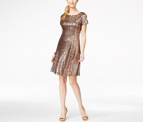Slny Women's Sequin A-Line Dress, Gold