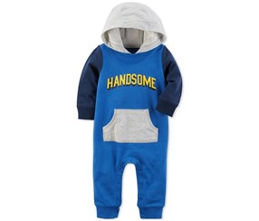 Carter's Boy's Hooded Handsome Cotton Coverall, Blue