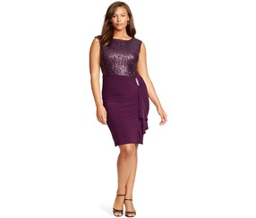 Ralph Lauren Women's Plus Size Sequined Ruffle Dress, Purple