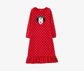 Little Girls Dot-Print Fleece Nightgown, Red