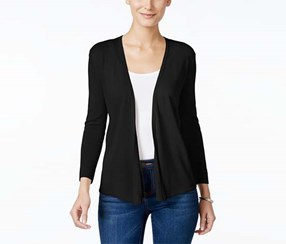 Style & Co. Women's Petite Open-Front Cardigan, Black