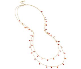 Kenneth Cole Women's Double-Row Station Necklace,  Red/Gold