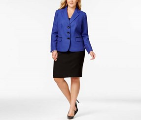 Le Suit Women's Plus Size Contrast-Trim Twill Skirt Suit, Black/Blue