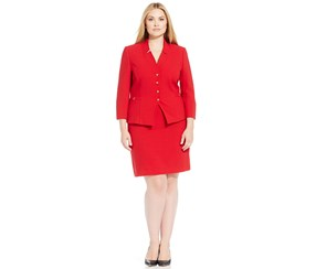 Tahari Women's Plus Size Four-Button Crepe Skirt Suit, Red