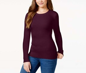 Hooked Up Women's Long Sleeve Ribbed Sweater, Maroon