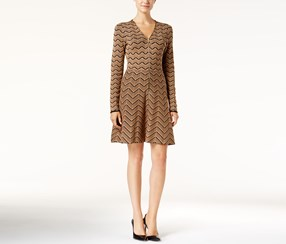 INC International Concepts Petite Fit Flare Zigzag Sweater Dress , Heather Ginger