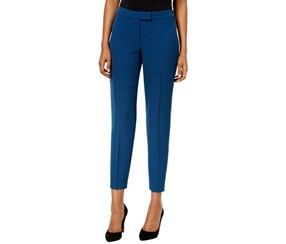 Anne Klein Women's Slim Fit Classic Rise Ankle Pants, Blue