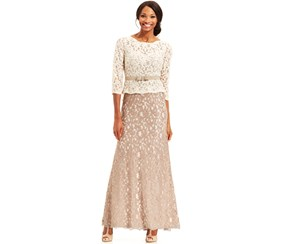 Adrianna Papell Women's 3/4 Sleeve Colorblock Lace Gown, Ivory/Taupe