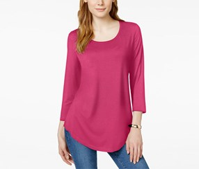 Jm Collection Women's Petite Three-Quarter-Sleeve Solid Top, Pink