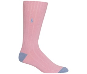 Polo Ralph Lauren Mens Ribbed Embroidered Socks, Pastel Pink