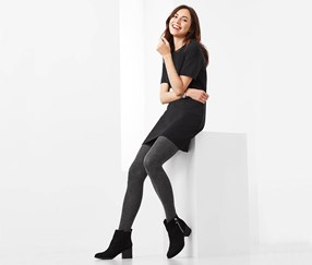 Women's 2 Pairs Of Tights, Grey/Black