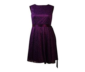 Tahari Women's Belted Laced Sheath Dress, Purple