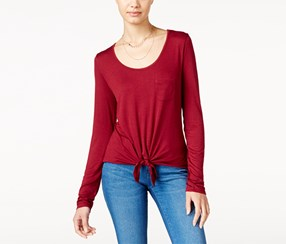 Rebellious One Women's' Tie-Front Top, Maroon