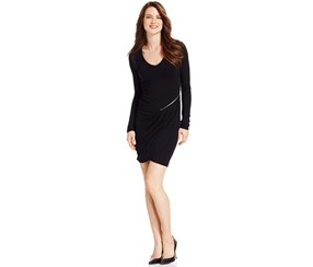 DKNY Women's Scuba Pieced Dress, Black