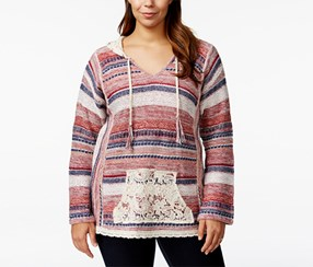 American Rag Plus Size V- Neck Lace Sweater Hoodie, Biking Red Combo