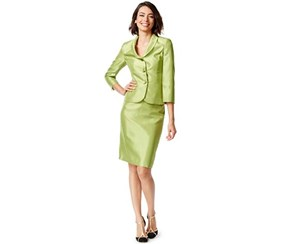 Le Suit Women's 3 Button Shawl Collar Shiny Jacket and Skirt Suit Set, Lime Green
