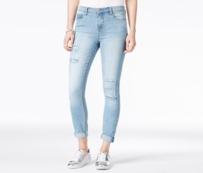 Vanilla Star Juniors Rip and Repair Super Soft Jeans, Lewis Wash
