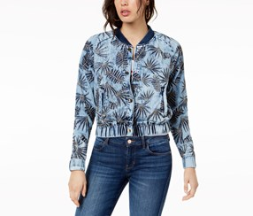 Guess Cotton Embroidered Bomber Jacket, Pacific Blue