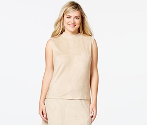 Soprano Plus Size Sleeveless Faux-Suede Top, Taupe