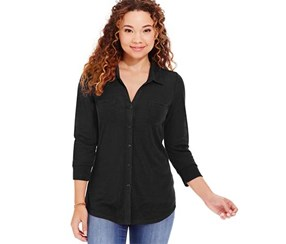 Almost Famous Women's Printed Button-Front Shirt, Black