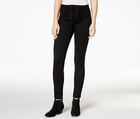 Material Girl Women's Lace-Up Caviar Black Wash Skinny Jeans, Black