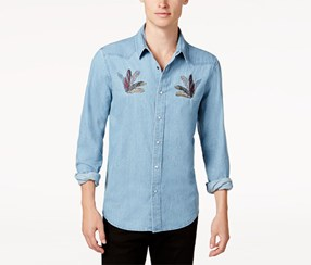 American Rag Men's Feather Embroidered Shirt, Blue