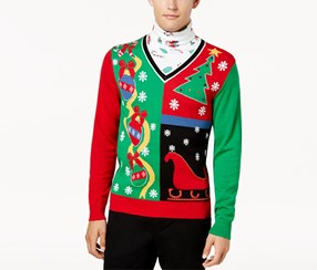 American Rag Cie Men's Layered Pullover Sweater, Red/Green