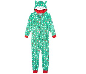 Max & Olivia Big Girls Fox Hooded Onesie, Green