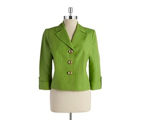 Tahari Women's Petite Three-Button Blazer, Green