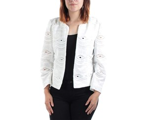 Tahari ASL Women's Eyelet 3/4 Sleeves Blazer, White