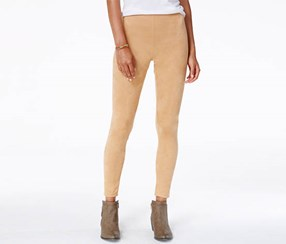 Ultra Flirt Women's Faux-Suede Leggings, Tan