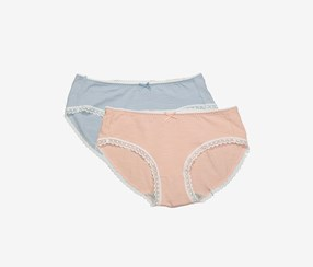 Women's Underwear 2 Pcs, Blue/Peach